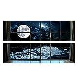 S-TROUBLE Luna 3D cabecera Pared calcomanía Arte Vinilo cabecera Pegatina extraíble Mural Dormitorio decoración del hogar