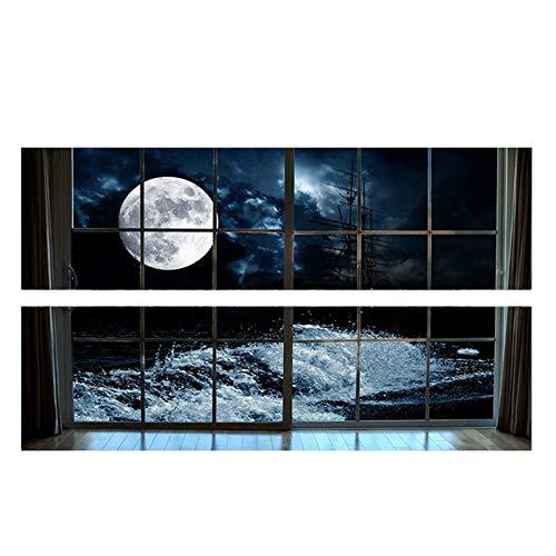 Moon 3D - Adhesivo decorativo para pared, diseño de cabecera de vinilo extraíble para dormitorio, decoración del hogar, limpiador de moldes para azulejos