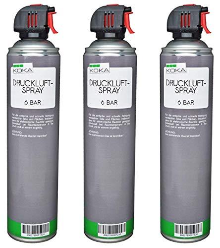 KOKA Druckluftspray 6 Bar 600ml Allzweck-Reiniger mit Röhrchen extragroß x 3