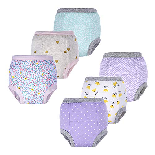 BIG ELEPHANT Baby Girls' Toddler Potty 6 Pack Padded Pure Cotton Pee Training Pants Underwear (Style C, 12-24 Months)