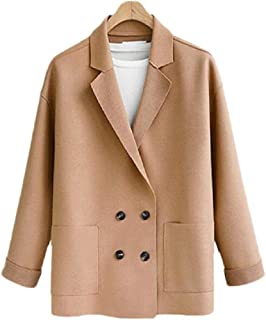 SOWTKSL Women Fashion Long-Sleeves Coat Double-Breasted Lace Patchwork Blazer
