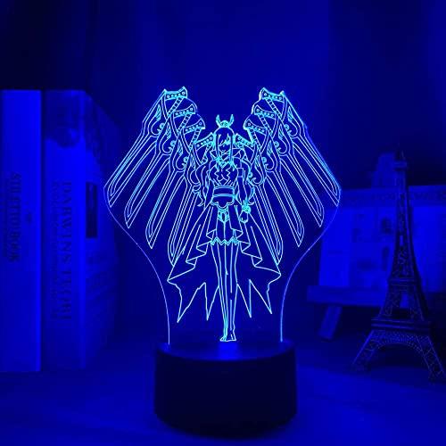 Lámpara 3D de noche anime ilusión lámpara 3D Anime Fairy Tail Erza Escarlata Rojo Escarlata para Dormitorio Decoración Luz nocturna Infantil Regalo Manga Fairy Tail Room LED Bet LYTLM