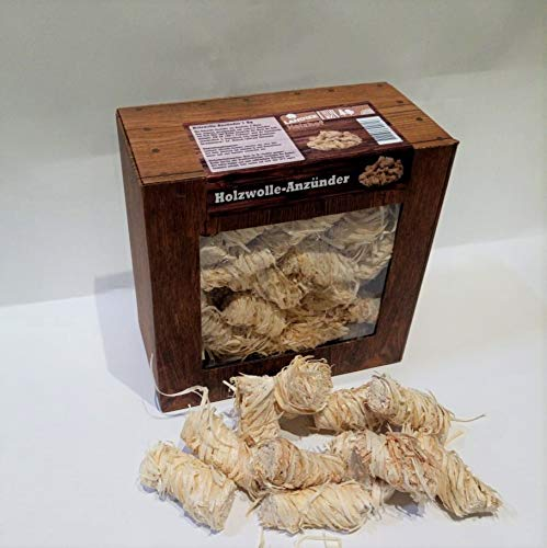 Landree Holzwolle-Anzünder 1Kg Kamin-Anzünder für Grill Smoker Kamin Ofen Holz/Anzündwolle (1 KG) / 100% ÖKO Holz-Wolle aus Natur-Wachs Brennstoffe Umweltfreundlich Sicher (1)