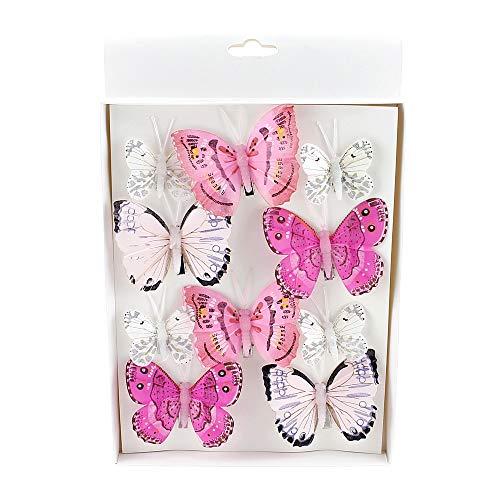 TGG 10 St. Schmetterlinge Mix mit Clip 2 Größen Sortiment / 046 pink-rosa