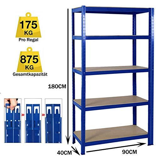 Schwerlastregal Lagerregal Werkstattregal Steckregal Kellerregal Regal Büroregal, 180x90x40cm (HxBxT), 5 MDF-Platten, Tragkraft bis zu 875kg - Blau