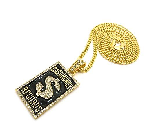 Crescendo SJ INC New Cash Money Records Pendant & 24' Box/Cuban/Rope/Fox Chain Necklace - XZ177G (Cuban Chain)