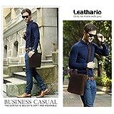 Leathario Herren Umhängetasche Schultertasche Leder 9.7Zoll Ipad mit 5 Steckfächern 25 x 7 x 31 cm für Alltage Freizeit - 5