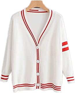 YXHM A Ladies Knit Fashionable Sleeve line Put Cardigan Cape School Sweater Warm Autumn Clothes Outer Coat Jacket Tunic Long-Sleeved Loose Type Cover Large Size Autumn Clothes Autumn New