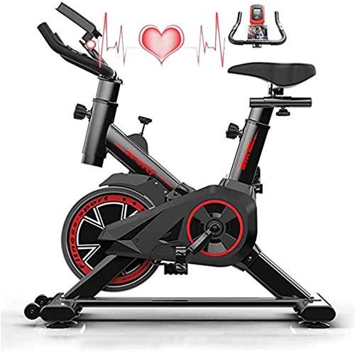 Wosxyeal Fahrrad Hometrainer Fahrradtrainer Spinning Bike mit LCD Monitor Herzfrequenzmonitor HandyHalterung Verstellbare Sitz Lenker und Basis 6kg Schwungrad Benutzergewicht bis 150kg