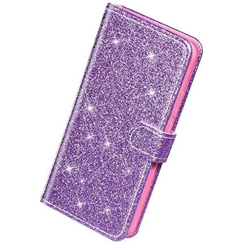 Herbests Kompatibel mit Huawei P30 Hülle Leder Schutzhülle Glitzer Diamant Strass Bling Glänzend Handyhülle Klapphülle Flip Case Brieftasche Hülle Wallet Ledertasche Magnet,Lila