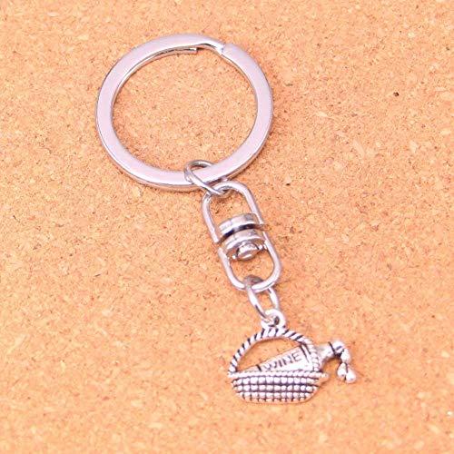 DdA8yonH Schlüsselbund Silber Farbe Metall Wein Picknickkorb Schlüsselanhänger Zubehör & verchromt Schlüsselanhänger