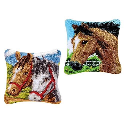 F Fityle 2 Juegos de 43x43cm Cute Horse Latch Hook Kits Almohada para Hacer Manualidades para Niños Adultos Craft