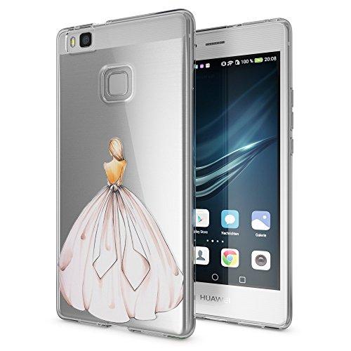 NALIA Cover Custodia compatibile con Huawei P9 Lite 2016, Protezione Silicone Trasparente Sottile Case, Gomma Morbido Cellulare Ultra-Slim Protettiva Telefono Bumper Guscio, Motiv:Princess Pink Rosa