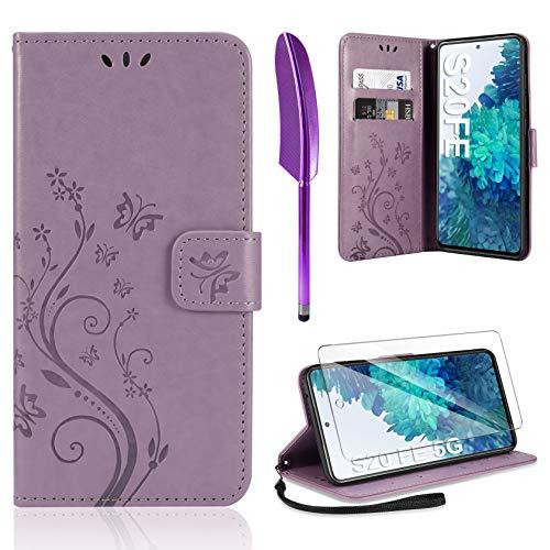 AROYI Lederhülle Kompatibel mit Samsung Galaxy S20 FE 4G/5G Hülle & Schutzfolie, Flip Wallet Handyhülle PU Leder Tasche Hülle Kartensteckplätzen Schutzhülle Hellviolett
