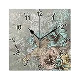 DragonSwordlinsu COOSUN - Reloj de pared con diseño de flores y colibrí (acrílico no pinchazos, 20 cm), diseño de flores y colibríes
