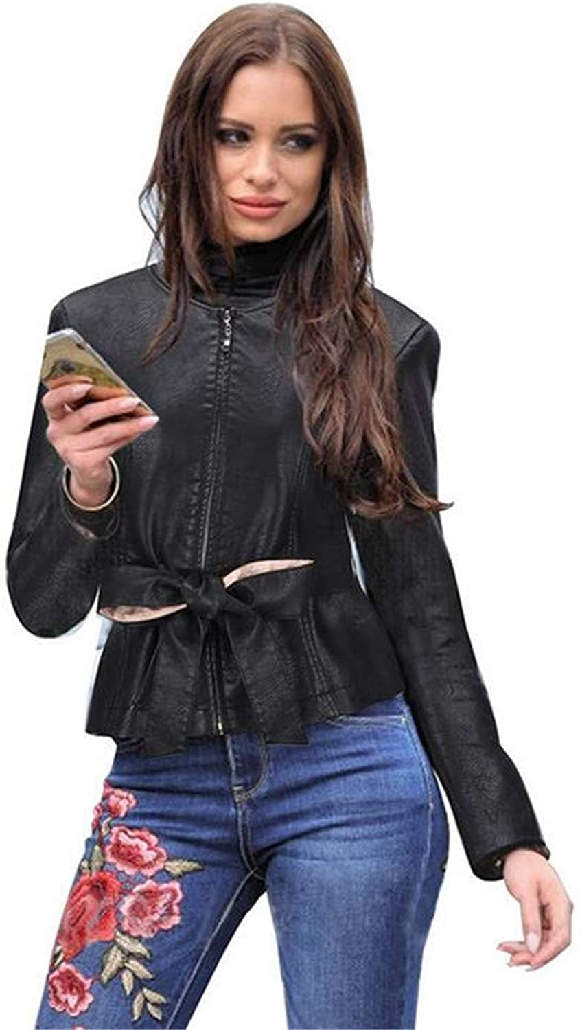Women Lady Slim Round Neck Autumn Small PU Leather Short Jacket with Belt Zipper Famale Long Sleeve Casual Style Outwear