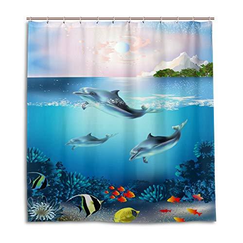 CPYang Duschvorhänge Ocean Sea Tropical Fish Delphin Wasserdicht Schimmelresistent Badevorhang Badezimmer Home Decor 168 x 182 cm mit 12 Haken