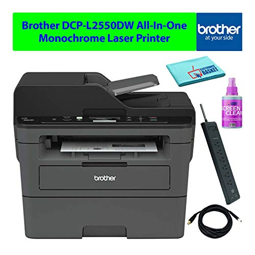 Brother DCP-L2550DW All-in-One AIO Compact Multifunction Wireless Monochrome Laser Printer with Auto-Duplex Best-Value Bundle - Includes - Essential Cleaning Kit + More