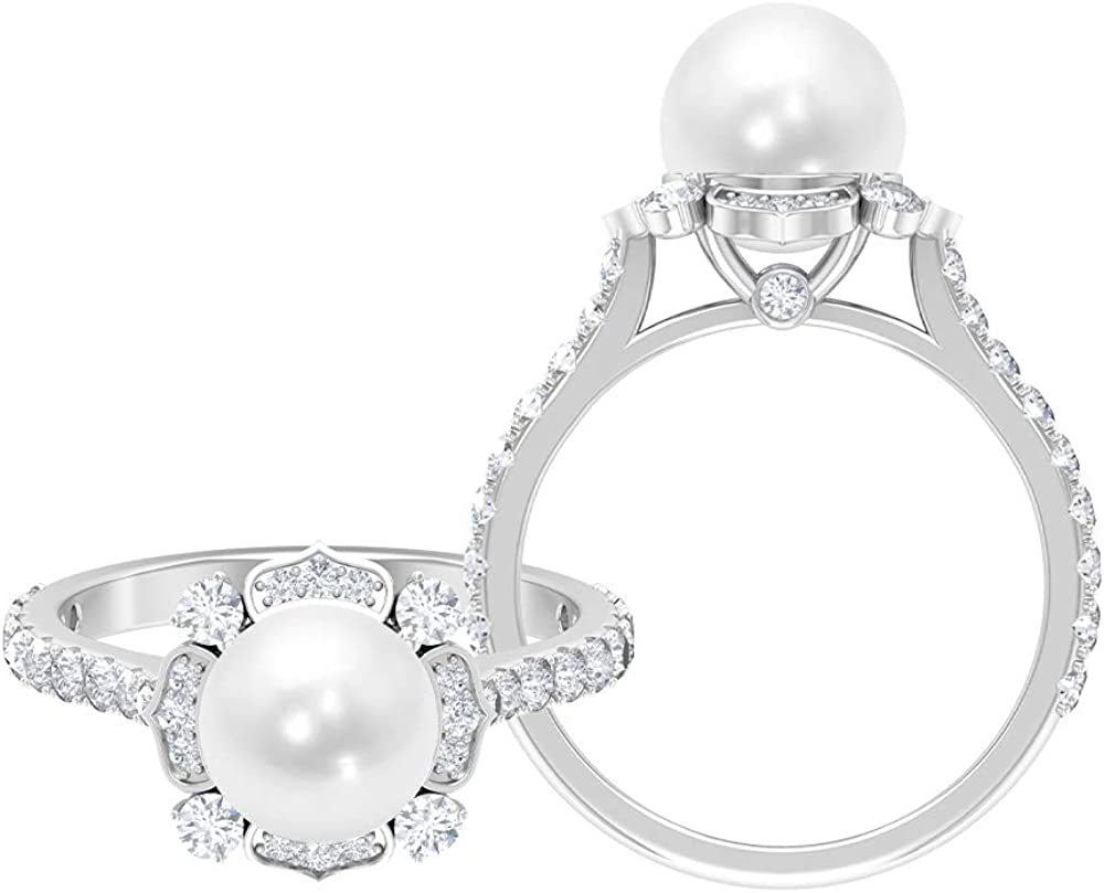 4.75 CT Freshwater Pearl Solitaire Ring with Moissanite Accents (8 MM Round Shape Freshwater Pearl), 14K Gold