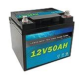 Qingmei Paquete de batería LiFePO4 Recargable de 12V 50Ah, Paquete de batería de Iones de Litio para Carrito de Golf/Silla de Ruedas/Andador electrónico, etc.