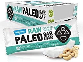 Maxsport Nutrition Raw Paleo Gluten free Bars – Vegan No added sugar Free from Gluten Soy Dairy non GMO Pack pf 20 – Coconut Cashew Estimated Price : £ 26,96