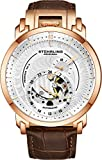 Stuhrling Original Automatic Watch - Skeleton Self Winding Mechanical Movment with Premium Leather Strap Stainless Steel Case Automatic Dress Watches for Men (Rose Gold)
