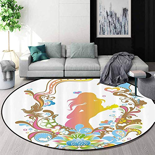 Check Out This Abstract Art Deco Pattern Non-Slip Backing Round Area Rug,Floral Frame Leaves With Oc...