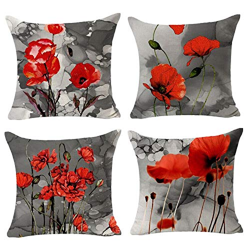 Set of 4 Plant Beautiful Retro Ink Painting Charming Red Poppy Cotton Linen Throw Pillowcase Couch Pillow Cover Decorative Pillow for Sofa CouchFamily Birthday Square 18x18 inch(Pack of 4)