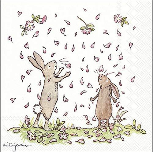 Papierservietten, Motiv Blüten und Hasen, für Ostern, 25 cm, quadratisch, 20 Stück