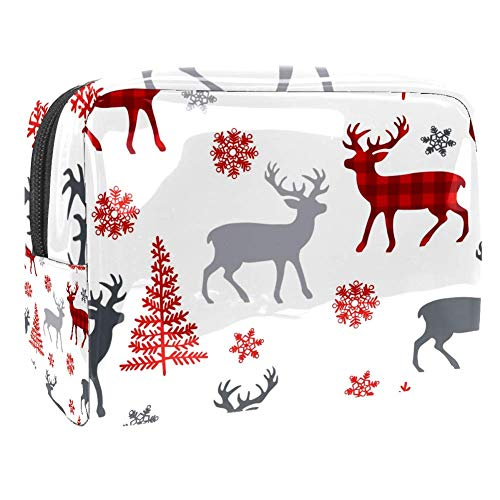 Travel Makeup Bag Portable Cosmetic Case Waterproof Toiletry Bag Large Storage Organizer Pouch for Women and Girls - Christmas Deer Tree Snowflakes