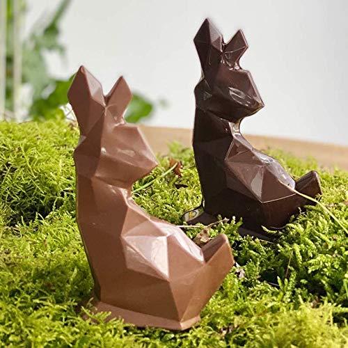 LOT DE 2 Moulage chocolat de Pâques FLAVIEN LE LAPIN ORIGAMI 2x40g - chocolat de Pâques - Fabrication 100 % artisanale et Française - chocolat lapin poule cloche poussin oeuf