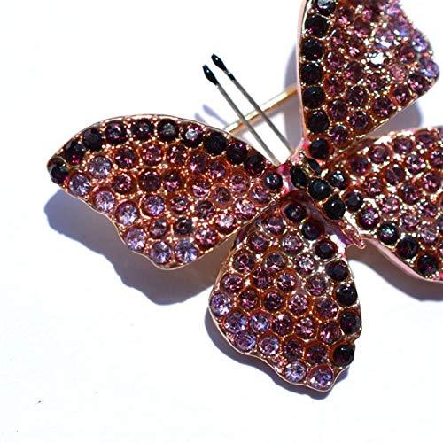 Juan-375 Clásico Joyería clásica de la Mariposa Regalo Novia Broche Pin Retro señoras Rhinestone Broche Exquisito Accesorios de Vestir Elegante para Mujeres, niñas, Damas,