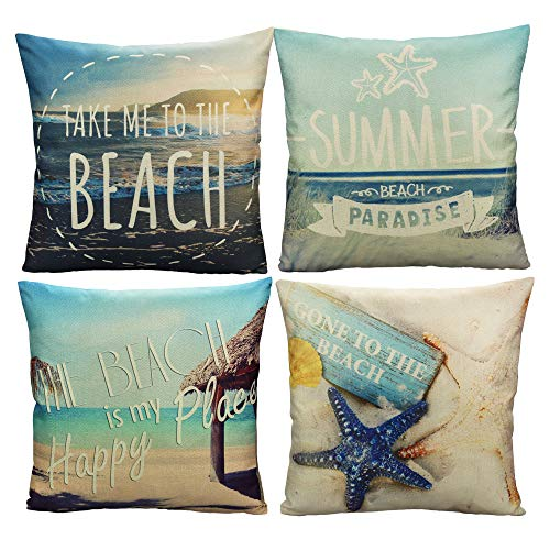 All Smiles Outdoor Beach Throw Pillow Covers Summer Ocean Decorative Cushion Cases for Patio Furniture Coastal Accent Home Décor for Daybed Couch Bed Sofa Sunbrella Set 4