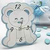 Ingrosso e Risparmio Reloj para bautizo de niño con forma de león blanco y azul de madera, ideal como recuerdo de...