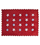 Happy Decor Kids -Alfombra Lavable Little Waves 100% Algodón Natural -Rojo- 160x120 cm