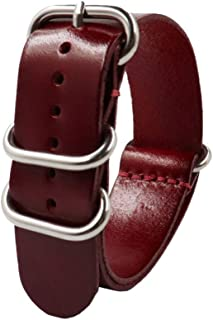 NICERIO Quick Release Leather Watch Band, Universal Genuine Leather Watch Replacement Strap with Stainless Metal Buckle Cl...