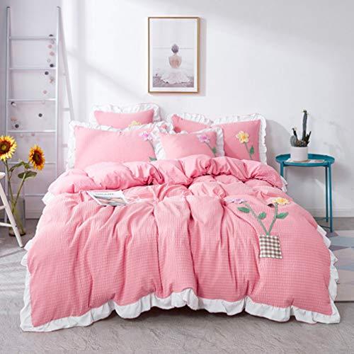 RSTJ-Sjef Tagesdecke-Set,Seersucker Set Bettwäsche,Dreidimensionale Blumen Tagesdecke Bett Set,Weich Und Hautfre&lich, Feuchtigkeitsabsorbierend Und Atmungsaktiv,Rot