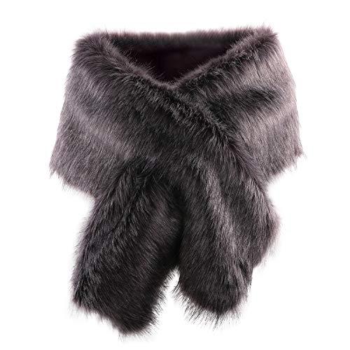 Women Long Faux Fur Shawl Bridal Stole...