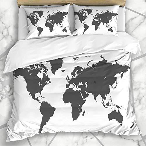 LISUMAL Ropa Cama - Funda nórdica Mundo Gris Mapa