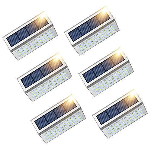 JSOT Solarlampen für Außen, 30 LED Solarleuchte Garten Edelstahl Sicherheitsleuchte Wasserdichter Aussen Treppenlicht für Balkon Treppen Terrasse - Weißes Licht, 6 Stück