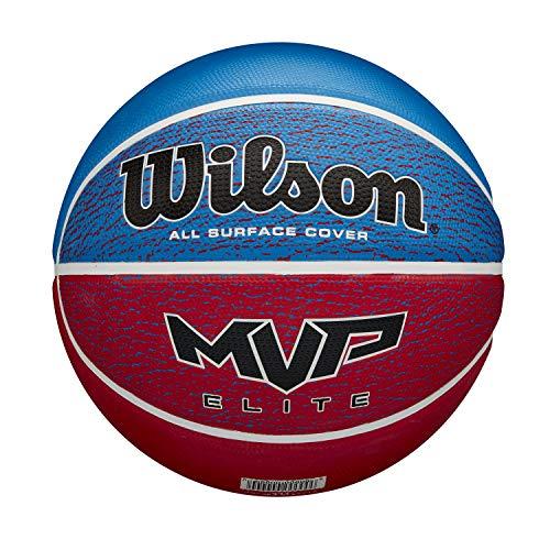Wilson Basketball, MVP ELITE, Größe: 7, Gummi-Material, Für Innen- und Außennutzung, blau/rot, WTB1462XB07