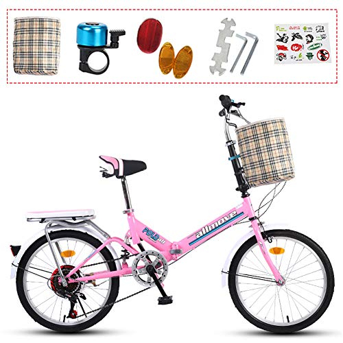 YTDHBLK gtt 20 Pulgadas Plegable De Acero De Alto Carbono Bicicleta De Paseo Mujer Bici Plegable Adulto Ligera Unisex Folding Bike Manillar Y Sillin Confort Ajustables,7 Velocidad,Capacidad 15
