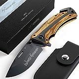 BERGKVIST® Klappmesser mit Gravur K29 Titanium 3-in-1 Taschenmesser graviert I Einhand-Messer mit Holzgriff Namensgravur Outdoor-Messer für Camping & Wandern I Geschenk zum Vatertag mit Schleifstein