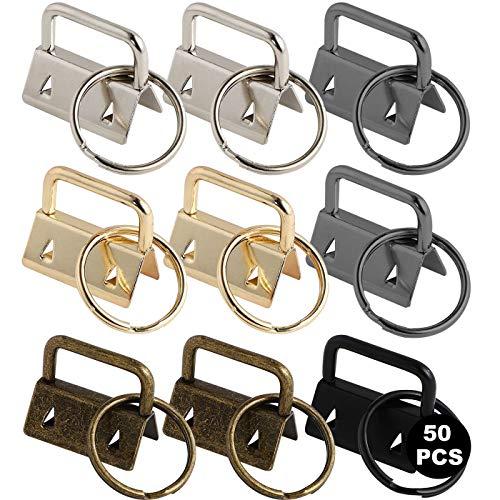 Zuzer 50pcs Klemmschließeanhänger mit Schlüsselring,Schlüsselband Rohlinge Spaltringe Schlüsselanhänger Gurtschnalle Klickverschluss Für 25mm Gurtband