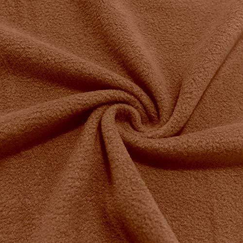 TOLKO Polar Fleece Stoff zum Nähen   beidseitig gerauht - flauschig weich   warmer Winterstoff mit Antipilling   für Jacke Mütze Schal Pullover Decke   150cm breit Meterware (Reh Braun)