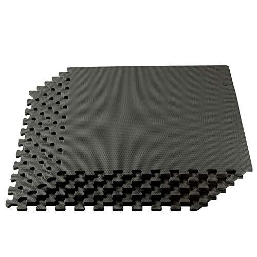 We Sell Mats 3/8 Inch Thick Multipurpose Exercise Floor Mat with EVA Foam, Interlocking Tiles, Anti-Fatigue for Home or Gym, 24 in x 24 in, Charcoal Gray, 24 Square Feet (6 Tiles) (M24-10M)