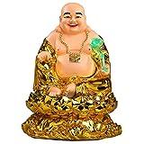 Ybzx Adorno de Estatua de Resina de Buda riendo Dorado con Figuras de RU Yi Esculturas Feng Shui Riq...