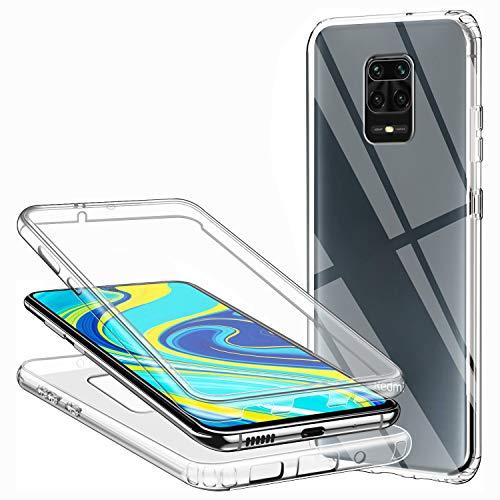 Hülle für Xiaomi Redmi Note 9S / Redmi Note 9 Pro Handyhülle 360 Grad, Transparent Full Schutz Kratzfest Dünn Durchsichtige Hülle Silikon Schutzhülle, Hart PC Zurück + Weich TPU Vorderseite