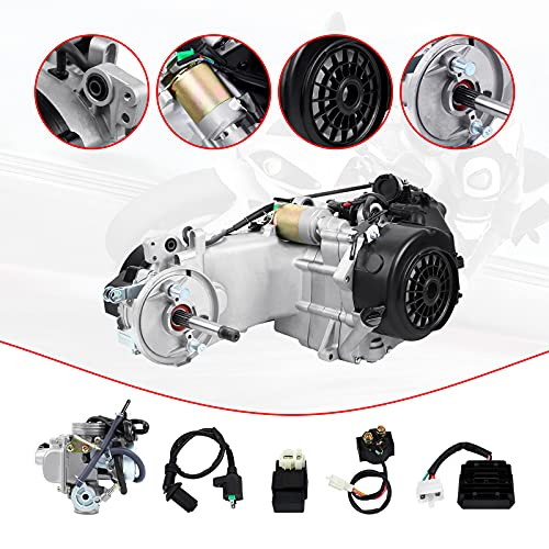 Ambienceo 150cc GY6 Single Cylinder 4-Stroke Motor Short Case Engine for Two-wheeled Scooter with Kick Start Lever Carburetor CDI Starter Solenoid Coil
