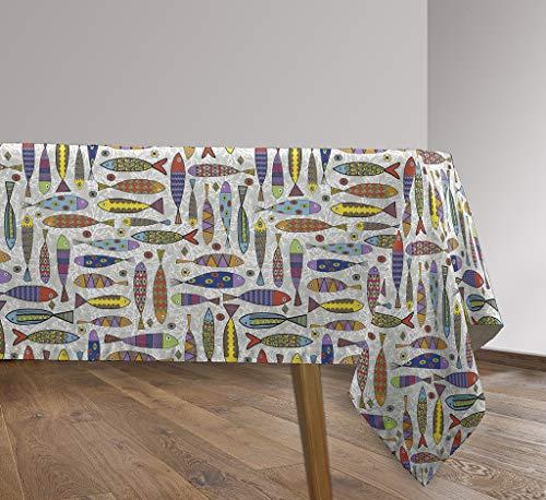 Vilber, Mantel de Tela confeccionado, rectangular, resinado, con Tratamiento Antimanchas, Impermeable, Estampado SARDINAS. SANTOÑA-R10, Multicolor